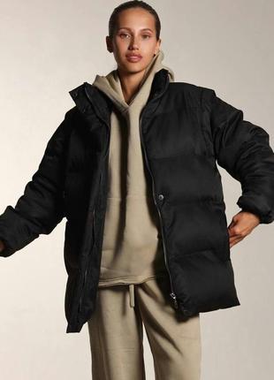 Куртка пуховик чёрный бежевый