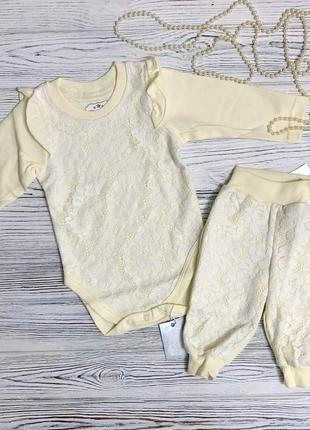 Нарядный комплект боди и штанишки зефир зиронька для новорожденных
