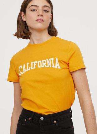 Xs h&m новая натуральная фирменная женская футболка с принтом california