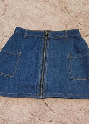 Джинсовая юбка карго джинсовая юбка с накладными карманами