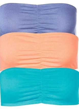 2шт 70 грн кроп топ бандо пудра, джинс, лиловый, неоновый оранжевый