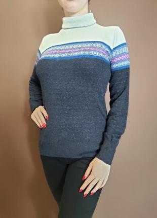 Синий свитер с высокой горловиной stamina (ангора в составе)