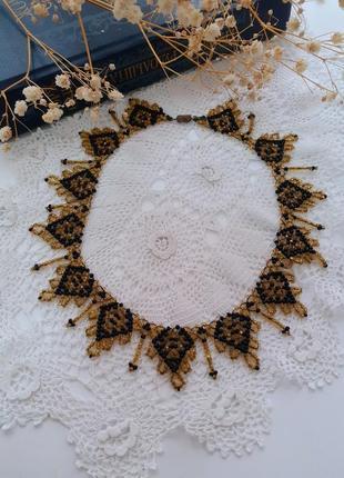 Ожерелье винтаж колье чехословакия бисероплетение этно ручная работа бисер