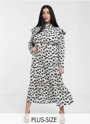 Кремовое платье в цветочный принт макси с оборками и длинными рукавами  свободное