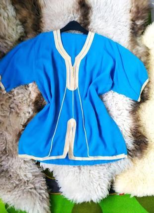 Летняя туника / рубашка вышиванка  тонкий хлопок голубая с золотом / оверсайз