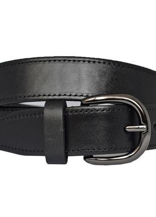 Ремень женский кожаный со строчкой черный под джинсы jane