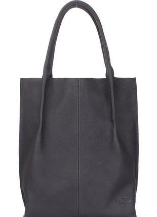 Женская черная кожаная сумка poolparty eleganza