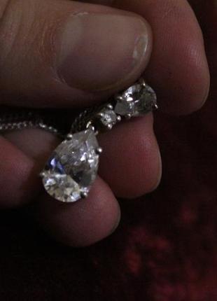 Набор кулон цепочка серебро с крупными фианитами4 фото