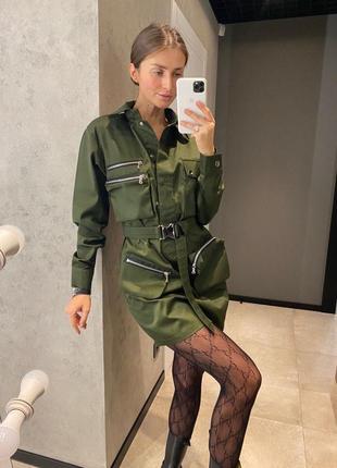 Платье коттон / платье на поясе / платье с карманами / платье со змейками / платье хаки