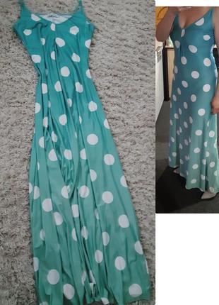 Шикарное длинное платье/сарафан в крупный горох,misslook,  p. s- m