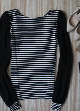 Актуальная блуза в полоску с шифоновыми рукавами