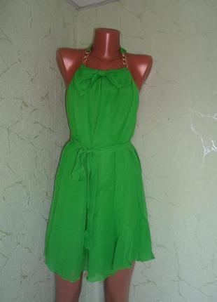 Шифоновый зеленый сарафан бант с открытой спинкой