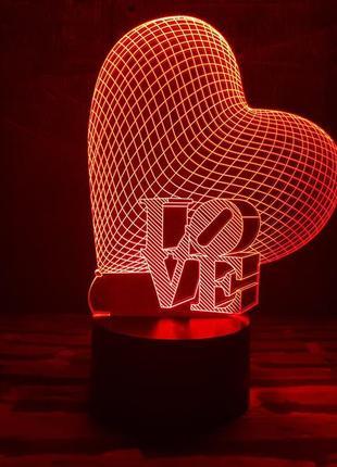 """3d ночник """"сердце"""". 7 цветов свечения"""