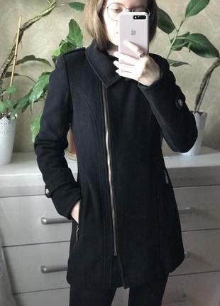 Пальто черное, зимние, зима хс