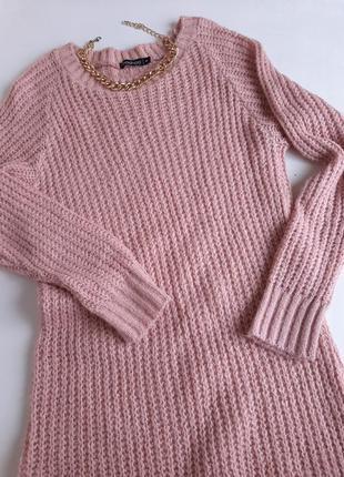 Платье крупной вязки свитер туника