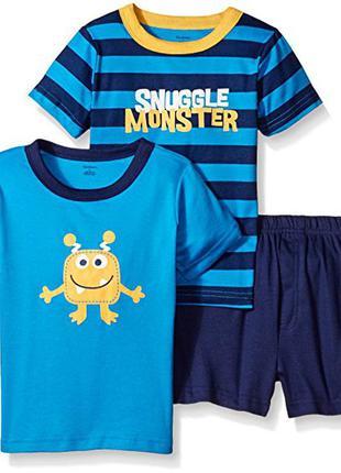 Комплект gerber для мальчиков 2 футболки и шорты с принтом «монстрик»