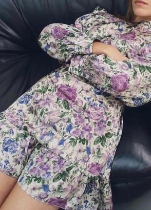 Сатиновое платье в цветочек zara