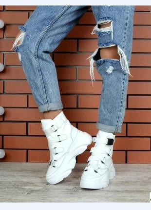 Белые зимние высокие кросовки натуральная кожа | зимние кросовки кожа