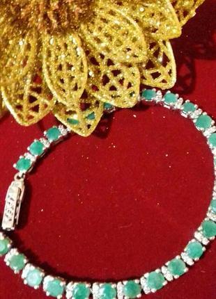 Серебряный браслет с индийским изумрудом