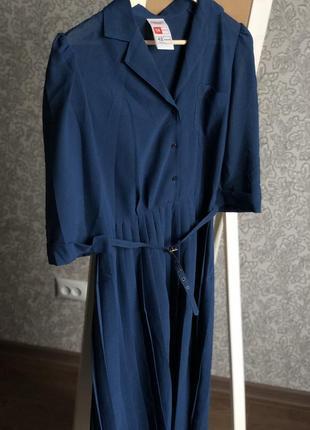 Винтажное синее платье с драпировкой и поясом