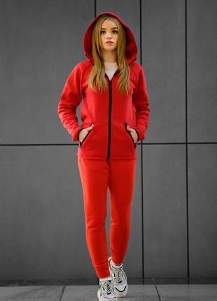Комплект утеплённый красный зиппер + штаны dnk mafia
