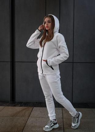 Комплект утеплённый белый зиппер + штаны dnk mafia