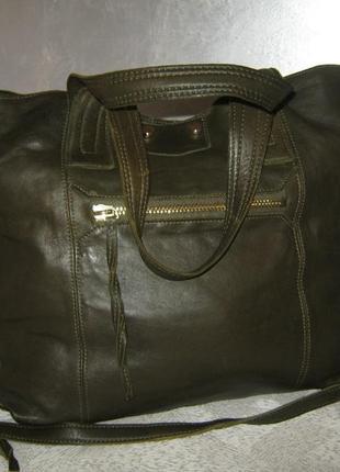 Top shop добротная большая кожаная сумка шоппер 50/35х39  через плечо кожа