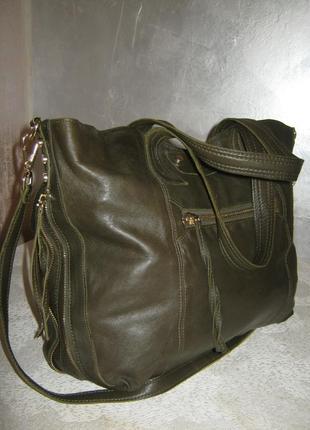 Top shop добротная большая кожаная сумка шоппер 50/35х39  через плечо кожа2 фото