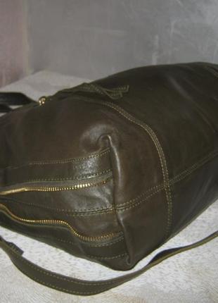 Top shop добротная большая кожаная сумка шоппер 50/35х39  через плечо кожа3 фото