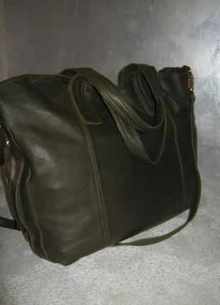 Top shop добротная большая кожаная сумка шоппер 50/35х39  через плечо кожа4 фото