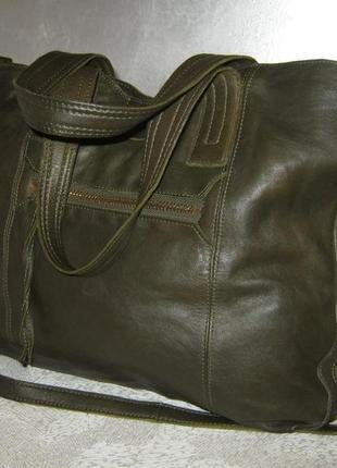 Top shop добротная большая кожаная сумка шоппер 50/35х39  через плечо кожа6 фото