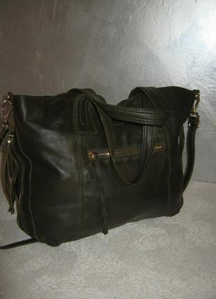 Top shop добротная большая кожаная сумка шоппер 50/35х39  через плечо кожа5 фото
