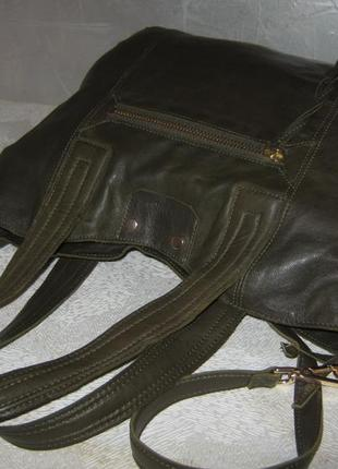 Top shop добротная большая кожаная сумка шоппер 50/35х39  через плечо кожа7 фото