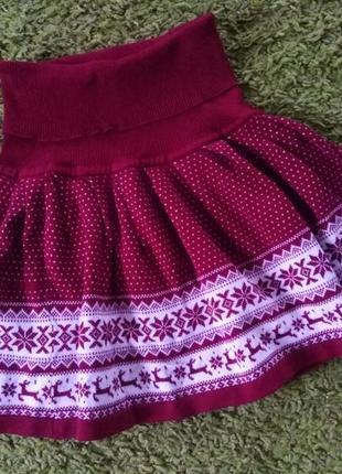 Вязаная юбка новогодняя