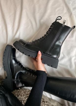 Balenciaga tractor fur женские кожаные зимние ботинки черного цвета 😍(на меху)