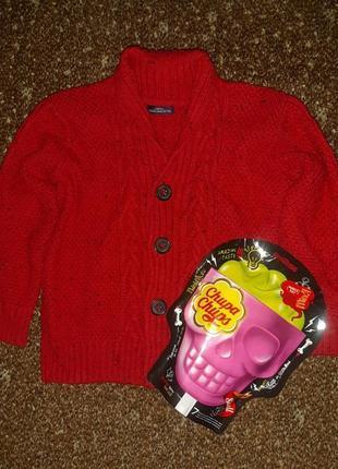 Красный меланжевый тёплый новогодний рождественский кардиган на пуговках