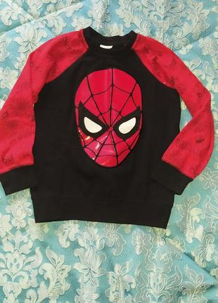 Теплый свитшот человек паук 7-8 лет