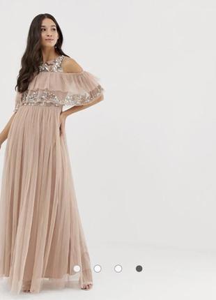 Бежево-розовое платье макси с вырезами на плечах и отделкой пайетками maya
