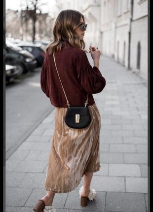 Шикарная велюровая юбка золотистый цвет