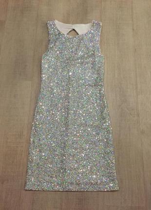 Коктейльное платье с паетками xs-s
