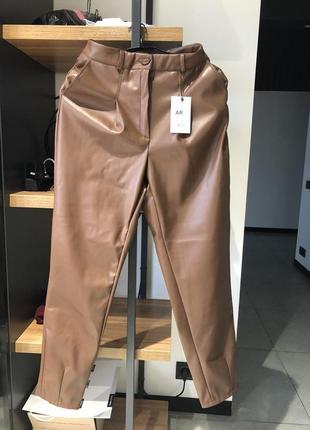 Брюки штаны высокая посадка   кожа кожзам экокожа кожаные стильные теплые трендовые