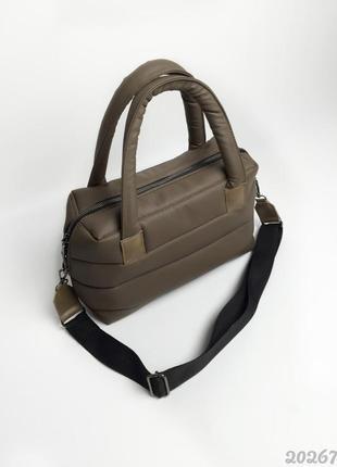 Дутая стеганая сумка с тканевым ремнем🤩