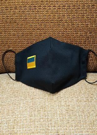 Маска для лица защитная многоразовая тканевая логотип вышивка