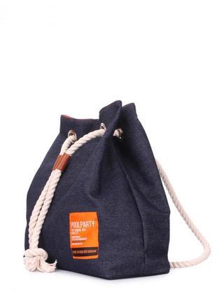 Модный джинсовый рюкзак на завязках