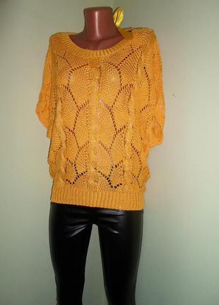Ажурная кофта -блуза с каплей вырезом на спине,оригинальная, универсал,желтая