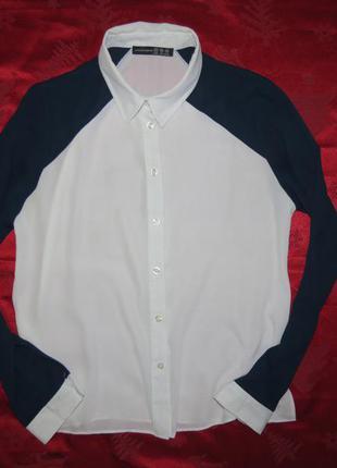 Стильная белая с синим блузка-рубашка от atmosphere 44-46 размера