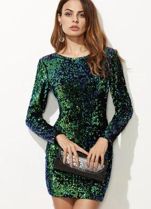 Коктейльное платье-хамелеон  в блестящих пайетках, темно-зелёное