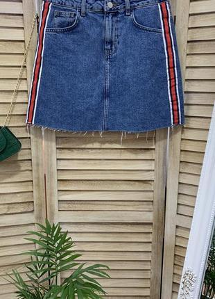Юбка джинсовая/джинсова с полосками