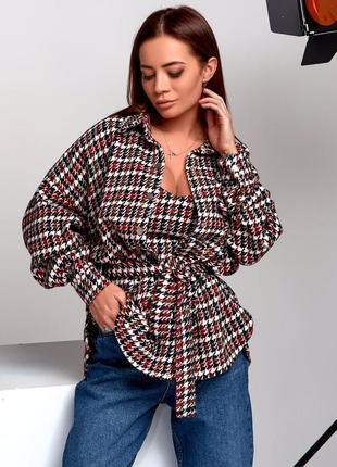 Тёплая рубашка+топ пояс в комплекте принт гусиная лапка