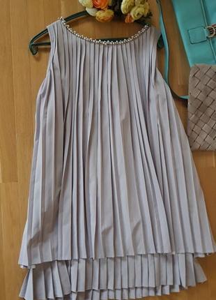 Нарядное платье трапеция плиссировка хлопок